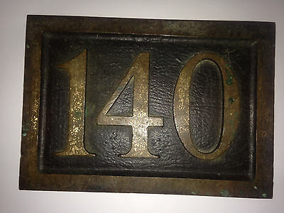 Vintage Antique Bronze or Brass Street Address 140 Architect House Sign Plaque