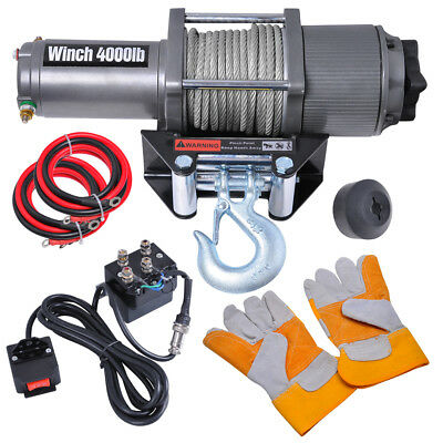 4000lbs Recovery Electric Winch Remote Control Trcuk Trailer ATV Rope Cable Gift