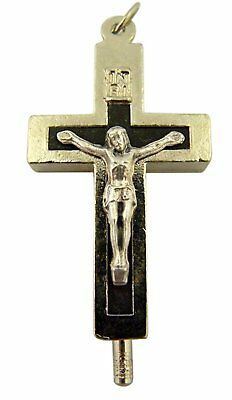 Silver Toned Base with Black Enamel Reliquary Cross Crucifix Pendant, 1 1/2 Inch