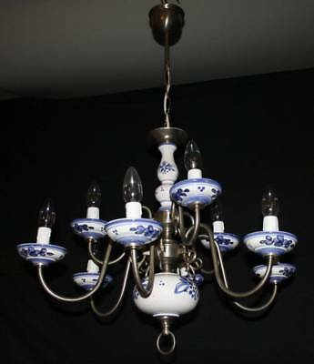 A vintage flemish delft chandelier two tier 9 light ceiling light a vintage flemish delft chandelier two tier 9 light ceiling light jn6 mozeypictures Gallery