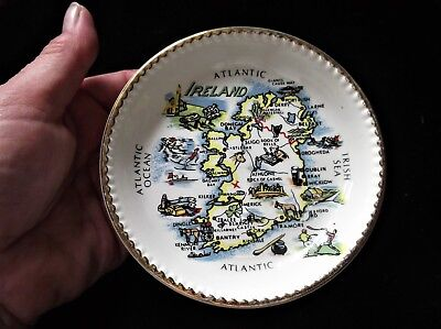 Vintage Gilded Pin / Butter Pat Dish Carrigaline Cork Irish Pottery Ireland Map