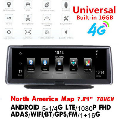 "7.84"" 4G ADAS Android 5.1 GPS FHD 1080P BT WIFI FM Transmitter Car DVR Recorder"