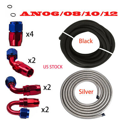 AN6 -8AN AN-10-12AN Fitting Stainless Steel Nylon Braided Oil Fuel Hose Line Kit