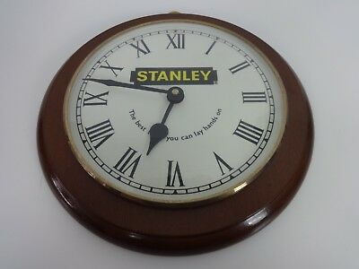 Vintage Wall Clock Stanley Tools Round Wooden Workshop Hardware Junghans Quartz