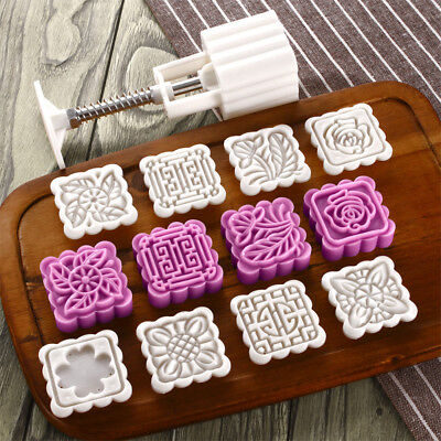 75g Square Baking Mooncake DIY Mold Pastry Biscuit Cake Mould Fower w/8 Stamps