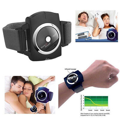 Anti Snore Stopper Wristband Device Intelligent Infrared Stop Snoring Aid Black