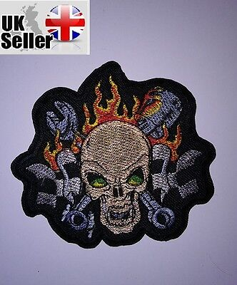 skull fire iron on sew on embroidered patch motorcycle biker skull