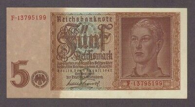 1942 5 Reichsmark Hitler Youth Swastika Nazi Germany Aunc Banknote Bill Note Ww2