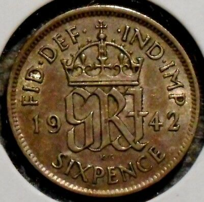 British Silver Sixpence - 1942 - King George VI - $1 Unlimited Shipping