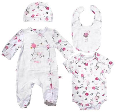 Girls Baby 4 PIECE Elephant Hat Bib Sleepsuit Top Gift Set Newborn to 6 Months