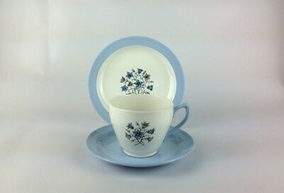 Copeland Spode Teacup Trio in the 'Hamilton' Pattern. Blue forget-me-nots.