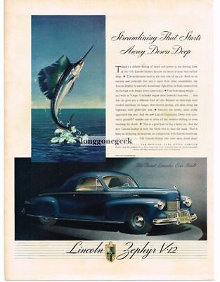 1942 Lincoln Zephyr Sailfish Leaping From Water 1941 Automobile Vtg Print Ad