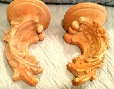"""Victorian architectural salvage carved wood brackets set of 2 - """"feurdelis"""""""