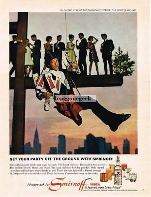 1967 SMIRNOFF Vodka SID CAESAR Hanging From Steel Girder Christmas Vtg Print Ad