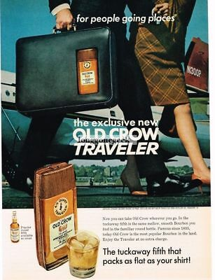 1967 OLD CROW Bourbon Whiskey Traveler Tuckaway Fifth In Brief Case Vtg Print Ad