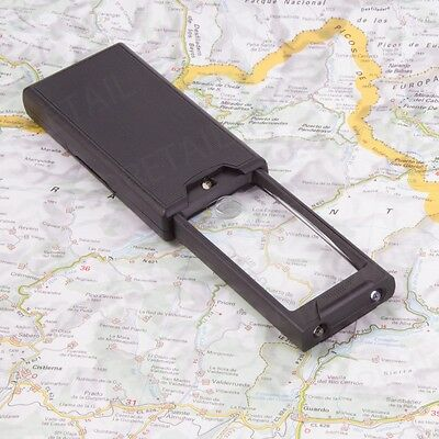 POCKET SIZE PULL OUT RECTANGLE MAGNIFIER/MAGNIFYING GLASS & LED Map Reading Lens