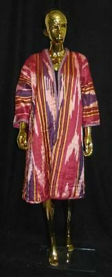 Traditional Uzbek Tajik Handmade Natural Silk Ikat Colorful Chapan Kaftan L353