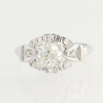 Art Deco Era Diamond Ring - 14k White Gold Engagement Vintage 1.09ctw