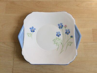 Shelley Hand Painted Floral Tab Handle Cake Plate - Perth Shape