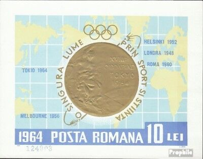 Romania block59 (complete issue) used 1964 Gold Medalists 1964
