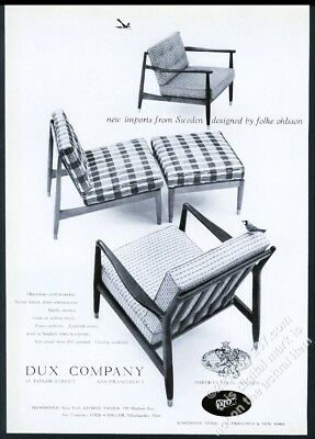 1953 Folke Ohlsson Modern Chair 3 Designs Photo Dux Furniture Vintage Print  Ad