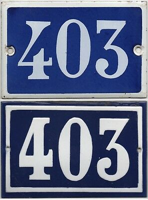 Old blue French house number 403 door gate wall fence street sign plate plaque
