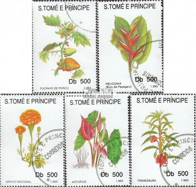 Sao Tome e Principe 1418-1422 (complete issue) used 1993 Flower