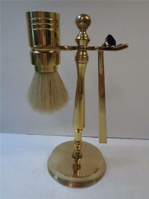 Shaving Brush Natural Bristle on Vintage Gold Metal stand 7in tall w Razor