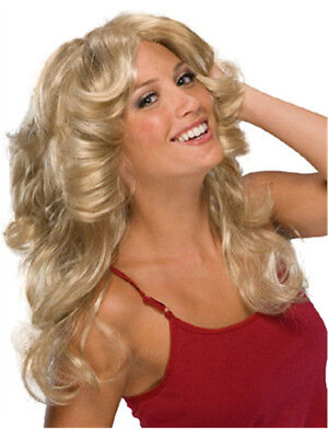 Deluxe Adult Blonde Feathered 70s Farah Angel Wig