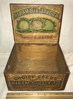 Antique Hiram Sibley Vegetable Seed Wood Box Vintage Country Farm Garden Store