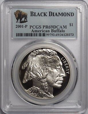 2001 P $1 American Buffalo Proof Silver Dollar PCGS PR69DCAM Black Diamond