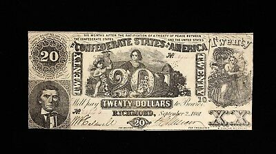 * 1861 Civil War Confederate States of America $20 Beehive Note T20
