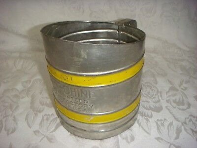 Antique Vintage Yellow-Band Sift-Chine Flour Sifter Double Screen