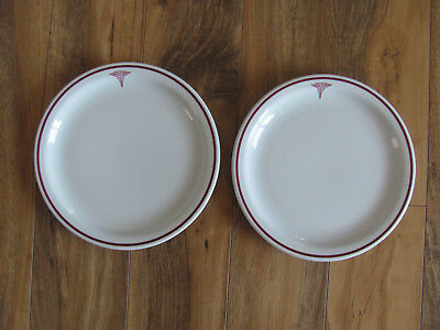 Buffalo US Army Medical Corps-Wine/Red Caduceus-Set of 2 Luncheon Plates - 9""
