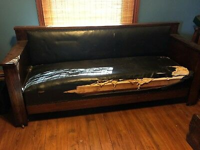 Antique MISSION ARTS & CRAFTS COUCH MURPHY BED Dark Oak Sturdy 7 ft.