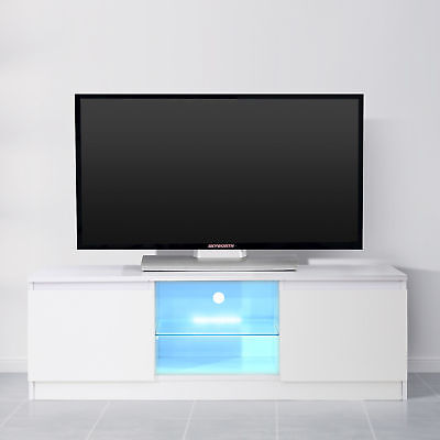 White High Gloss Tv Stand Unit Cabinet W Led Light Shelves 2