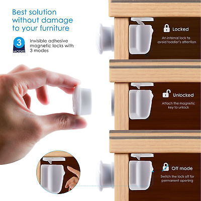 10PCS Magnetic Cupboard Cabinet Drawer Locks for Baby Kids Boy Safety Proofing