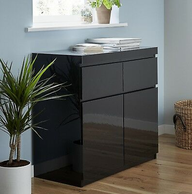 NEW Tesco Maine High Gloss Small 2 Door 2 Drawer Sideboard Cabinet (Black)