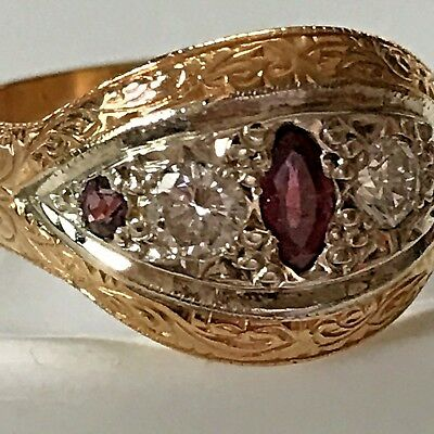 Edwardian Ruby & Diamond Ring 22 ct Gold  Just Gorgeous 133 YEARS OLD !!