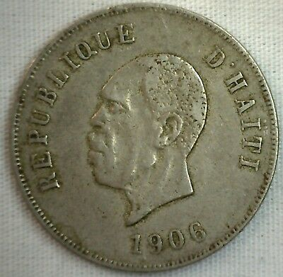 1906 HAITI 10 Centimes 10 Cents Coin President NORD ALEXIS XF Extra Fine