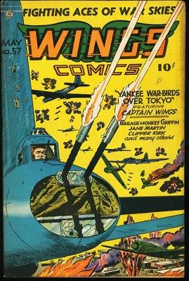 Wings Comics #57-Fiction House-1945-Tail Gunner Cover Fn