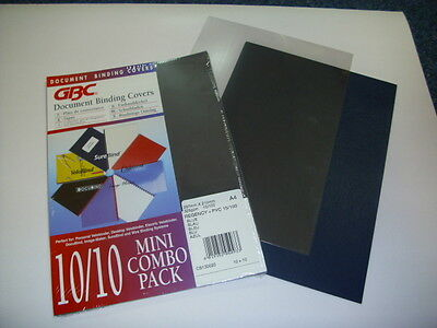 Pack Of 20 A4 Gbc Clear & Blue Document Binding Covers For Slide / Comb Binding