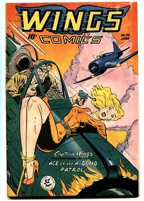 WINGS COMICS #94-Classic BONDAGE cover-Babe tied to plane! Golden-Age