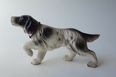 VINTAGE ENGLISH SETTER DOG FIGURINE w/ Metal Collar & Breed Name Plate JAPAN