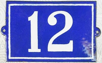 Large old blue French house number 12 door gate plate plaque enamel sign c1950