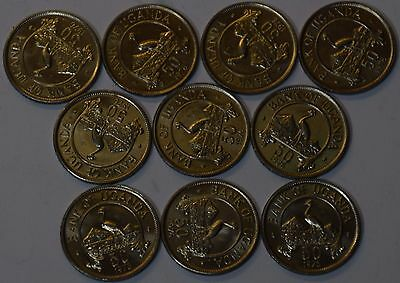 GS378 - Uganda 10 Coins Lot 50 Cents 1976 KM#4a XF-UNC SCARCE YEAR TYPE