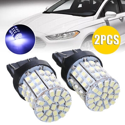 2X NEW 7443 7440 W21W T20 White 64 SMD 1206 LED Stop Tail Brake Light Bulbs
