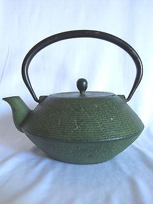 Vintage Cast Iron Japanese Teapot Green With Lid & Tea Strainer