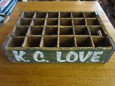 Vintage 1918 K.c. Love Wood Soda Crate Box 24 Compartments Muskogee Mcalester