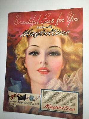Incredible Maybelline Cosmetic Ad Beautiful Lady Pin Up Girl 30s Tchetchet  Art